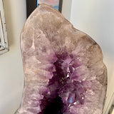 Amethyst Crystal Geode with Natural Polished back