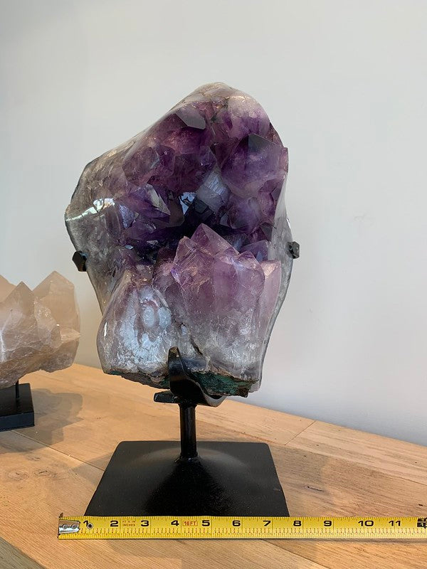 Large Amethyst Geode on Custom Iron Stand