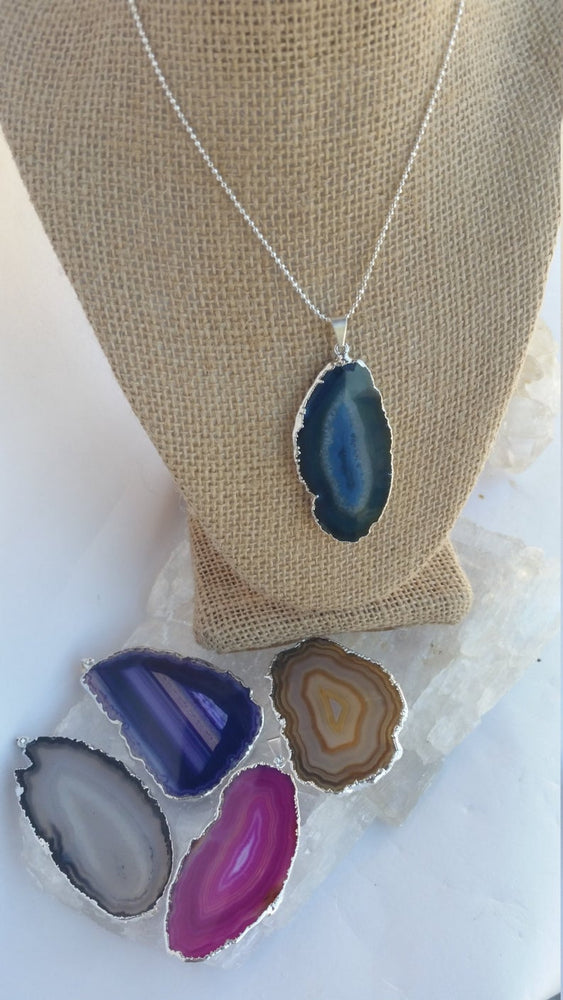 Load image into Gallery viewer, Agate Slice Necklace, Colorful Sliced Agate Pendant Necklace