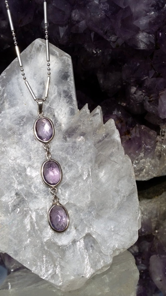"Load image into Gallery viewer, Amethyst 3-Tier Sterling Silver Drop Pendant, 20"" Sterling Silver Chain"
