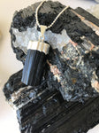 Black Tourmaline Necklace, Silver Dipped Black Tourmaline Pendant Necklace