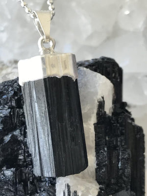 Load image into Gallery viewer, Black Tourmaline Necklace, Silver Dipped Black Tourmaline Pendant Necklace