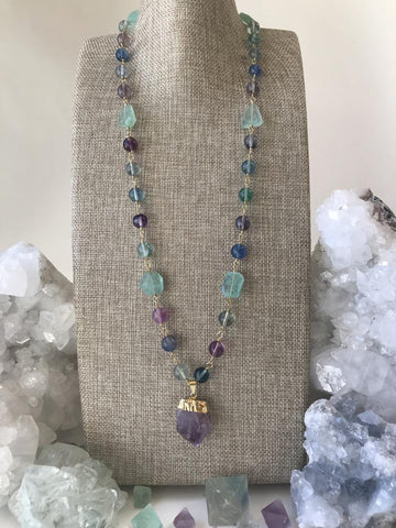 Fluorite Necklace with Amethyst Point Pendant, Long Gemstone Necklace, Fluorite Necklace, Amethyst Pendant Necklace