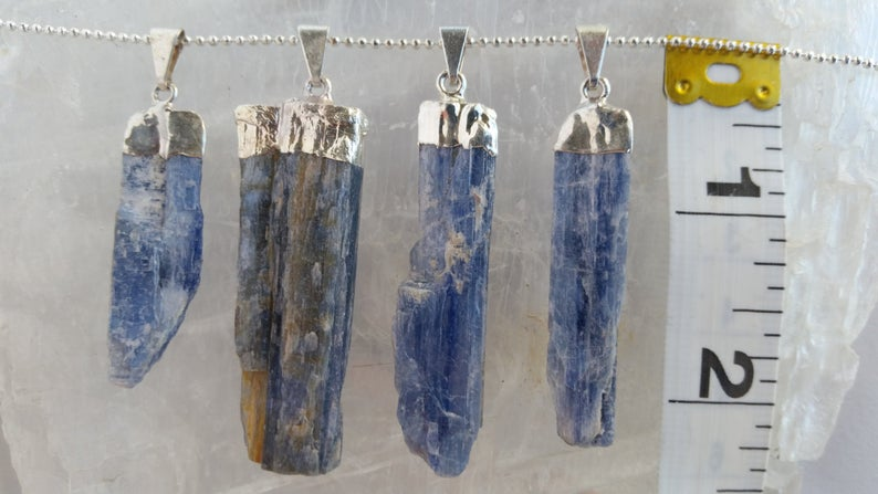 Load image into Gallery viewer, Kyanite Necklace, Raw Kyanite Pendant, Blue Kyanite Pendant Necklace
