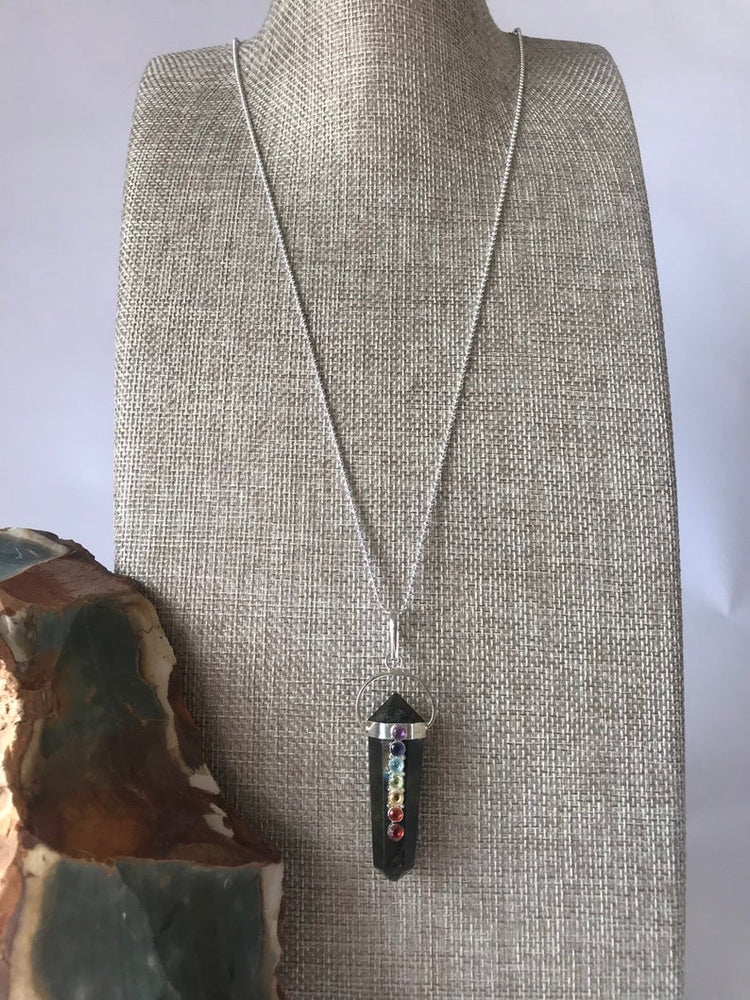 Load image into Gallery viewer, Labradorite Chakra Necklace, Chakra Necklace