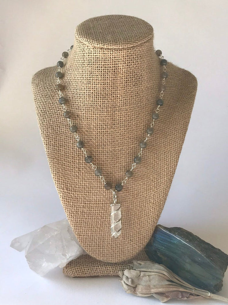 Load image into Gallery viewer, Labradorite Quartz Point Necklace
