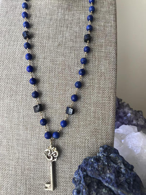 Load image into Gallery viewer, Lapis And Black Tourmaline Om Key Necklace, Om Necklace