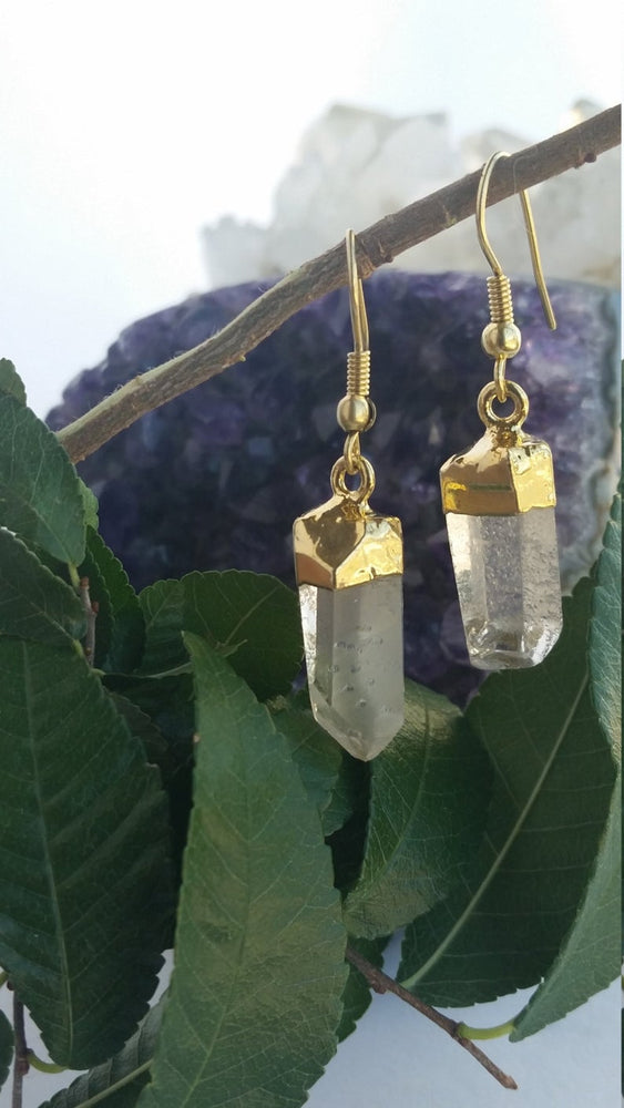 Quartz Earrings, Quartz Point Earrings, Raw Clear Quartz Earrings