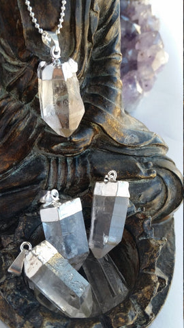 Quartz Point Necklace, Silver Dipped Quartz Pendant, Quartz Necklace