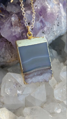 Raw Amethyst Slice Pendant, Amethyst Necklace