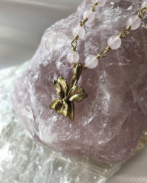 Load image into Gallery viewer, Rose Quartz Necklace, Beaded Rose Quartz Neckace, Orchid Necklace, Wire Wrapped Rose Quartz Necklace, Recycled Bullet casing Necklace