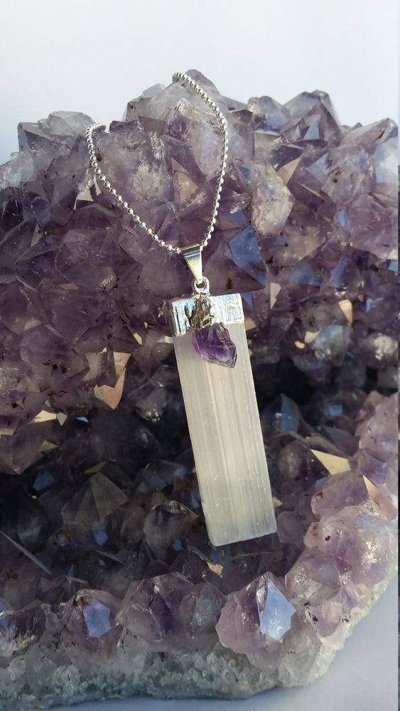 Load image into Gallery viewer, Selenite with Gemstone Necklace, Selenite with Citrine Necklace, Selenite with Amethyst Necklace, Selenite with Black Tourmaline Necklace