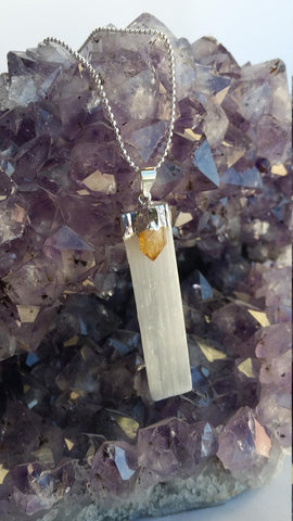 Selenite with Gemstone Necklace, Selenite with Citrine Necklace, Selenite with Amethyst Necklace, Selenite with Black Tourmaline Necklace