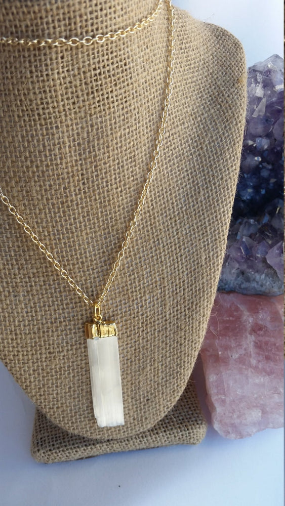 Load image into Gallery viewer, Selenite Necklace, Rough Cut Selenite Pendant