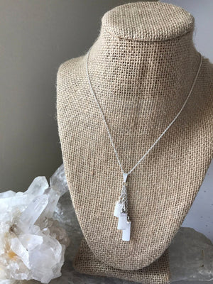Load image into Gallery viewer, Selenite Trio Drop Necklace, Selenite Necklace
