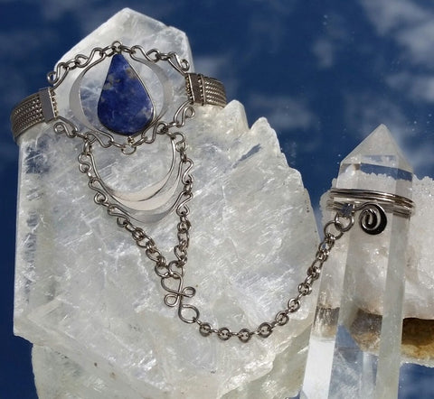 Silver Ring Bracelet with Sodalite, Adjustable Ring and Bracelet