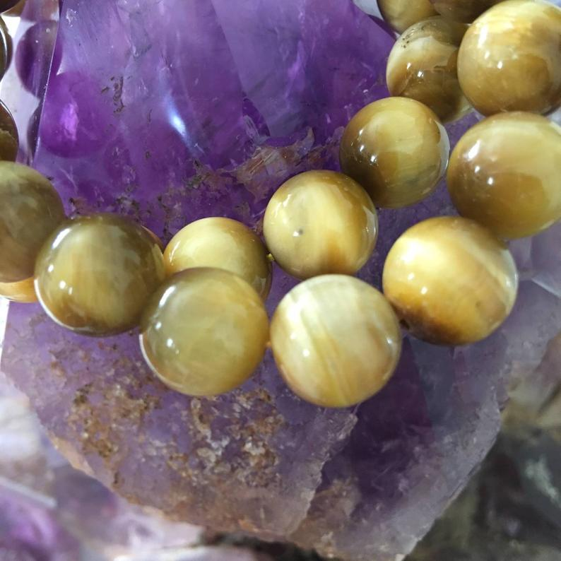 Load image into Gallery viewer, Grade A Golden Tiger Eye Bracelet, Beaded Gemstone Stretch Bracelet, Healing, Metaphysical Jewelry