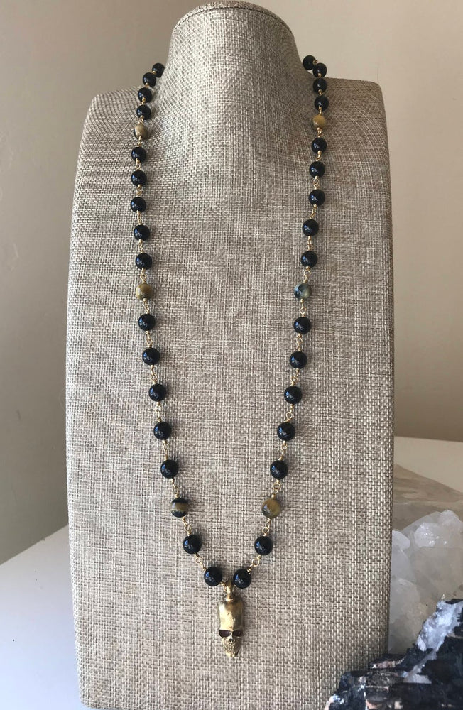 Load image into Gallery viewer, Black Tourmaline and Tiger Eye Skull Necklace, Recyceled Bullet Casing Necklace