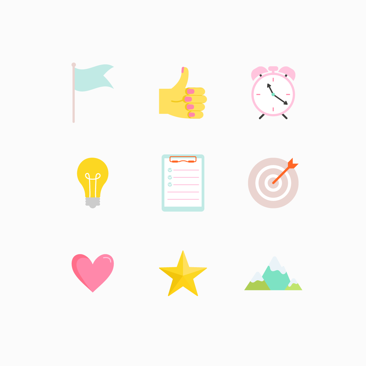 Goal Setting Icon Set