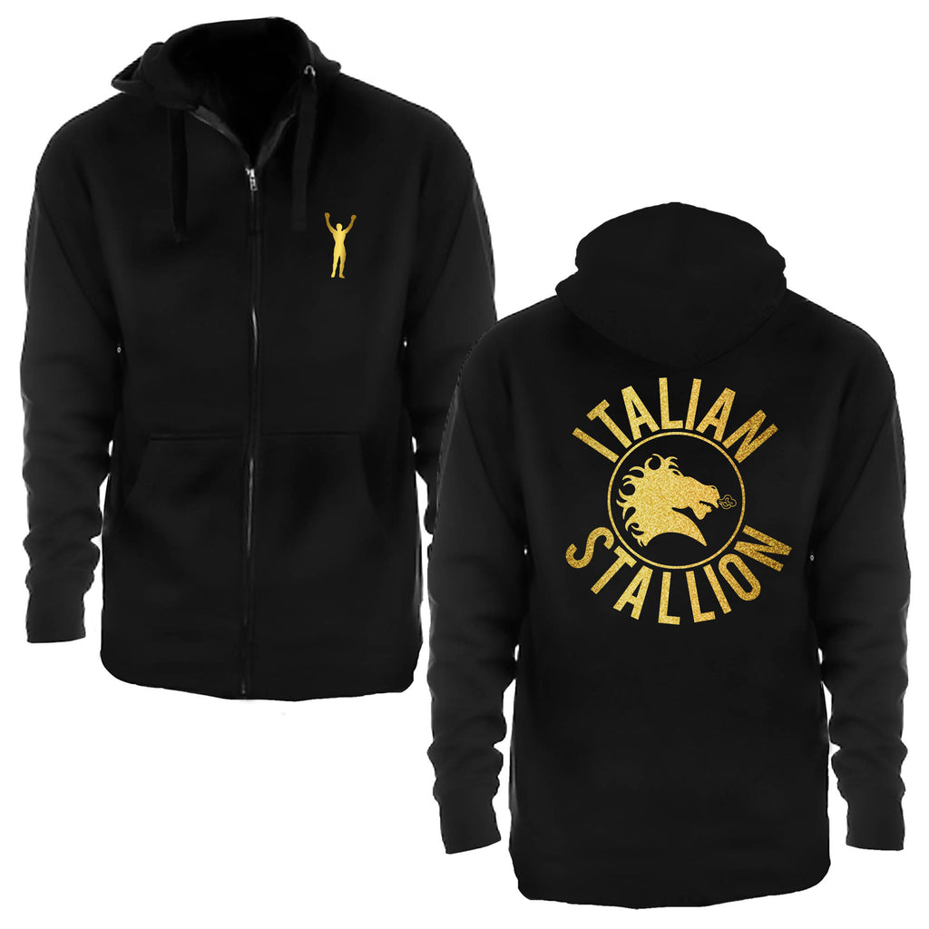Italian Stallion Metallic Gold Zip Up Hoodie