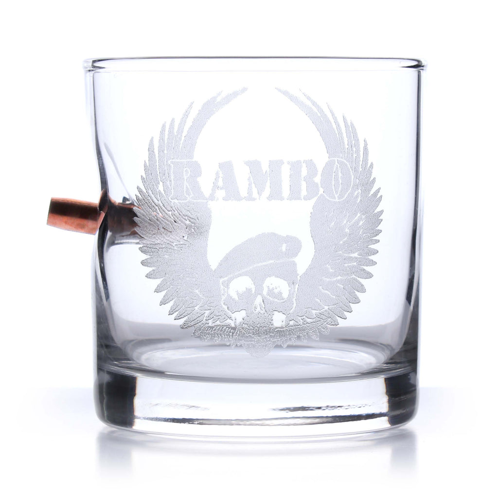 Rambo Bullet Etched Rocks Glass
