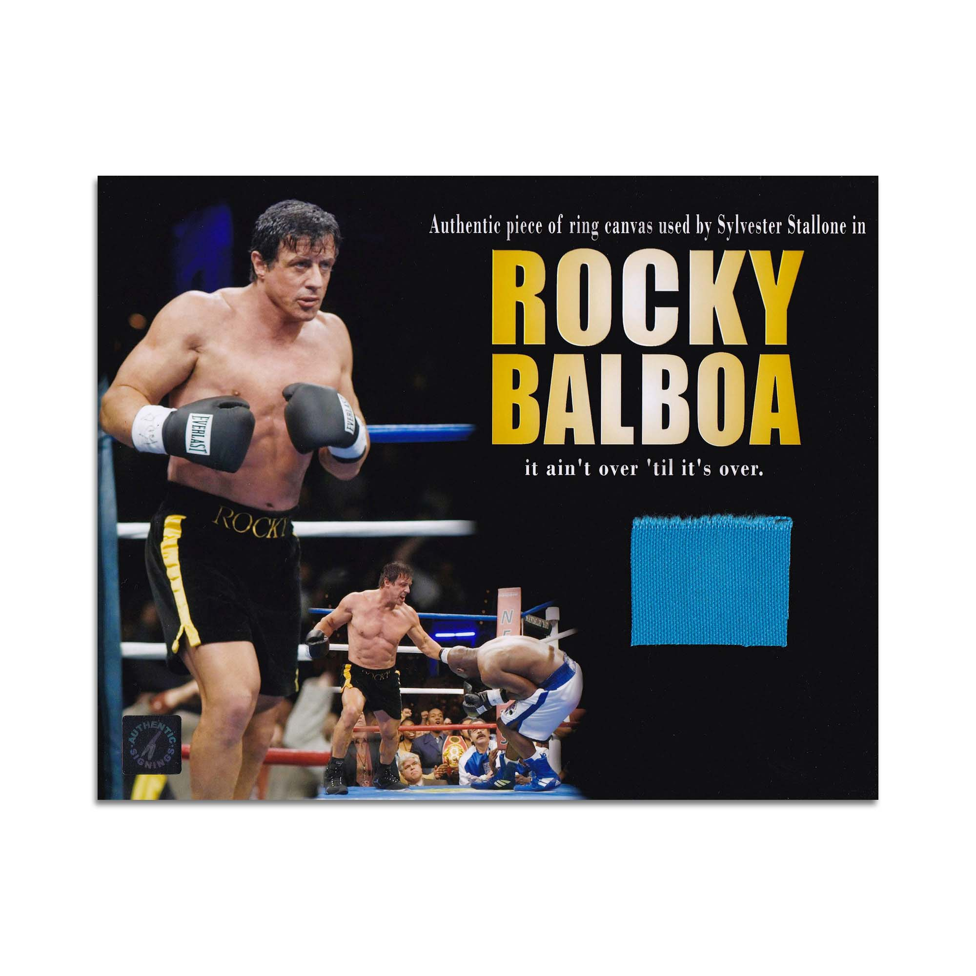 Sylvester Stallone 8 x 10 Photo With Screen Used Boxing Ring Swatch from Rocky Balboa