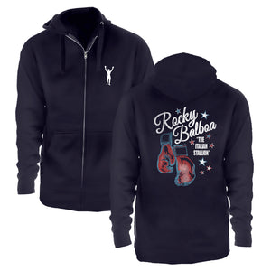 Rocky Balboa Navy Blue Zip Up Hoodie