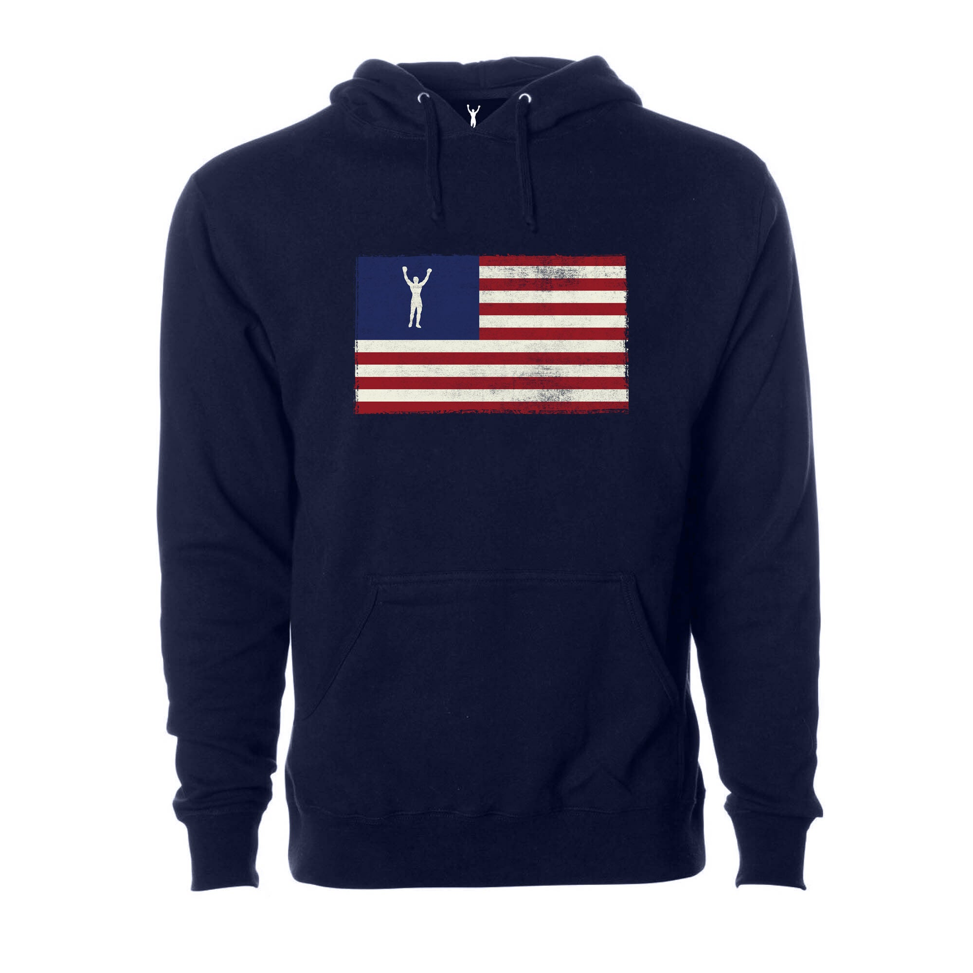 Rocky Statue Flag Pullover Hoodie