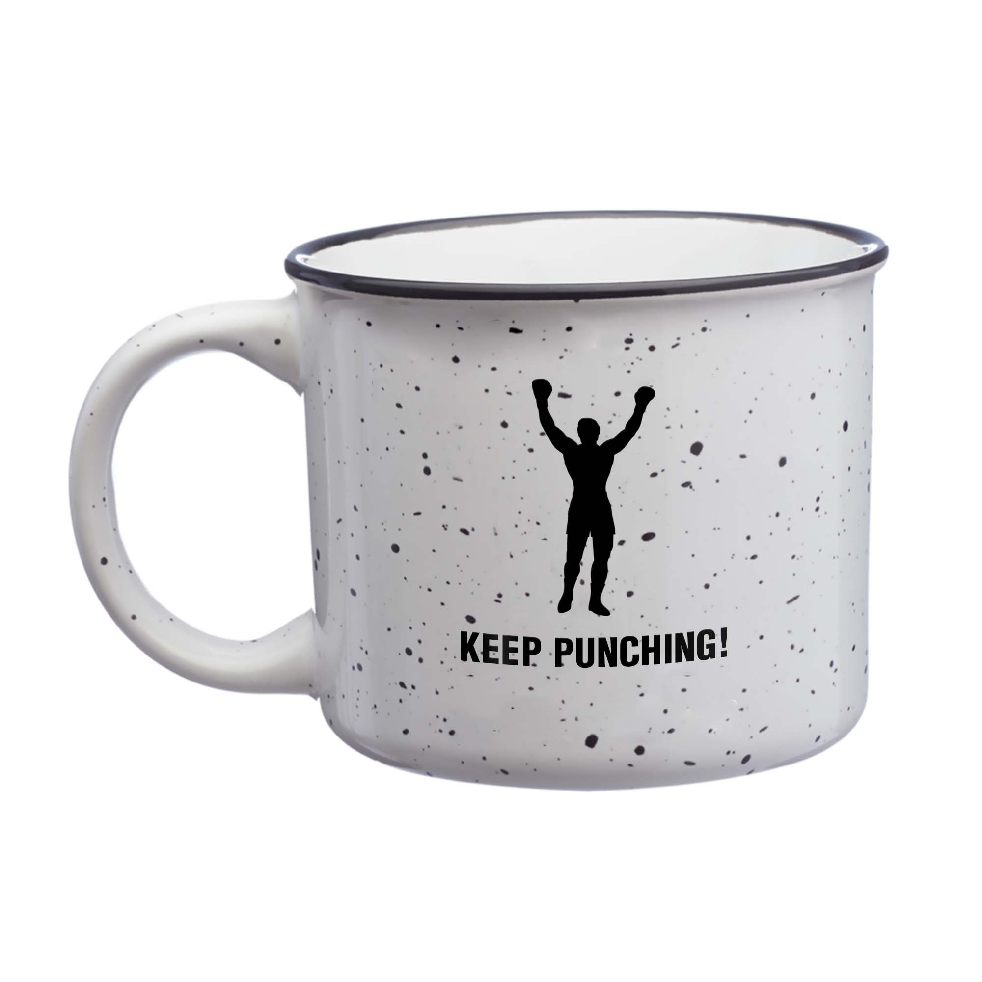 KEEP PUNCHING! White Ceramic Coffee Mug