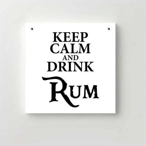 "Holzschild ""Keep calm and drink Rum"" bedruckt 20x20cm Deko"