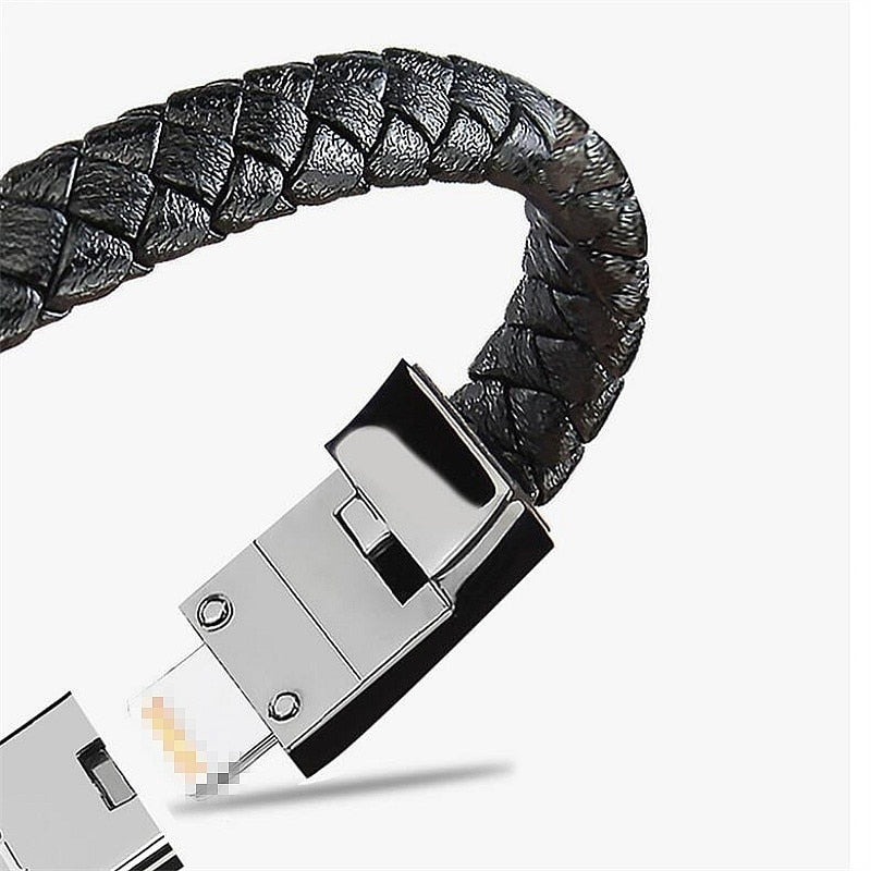 Original Leather USB Bracelet for All Smartphones 📿 - The Geek Apparel