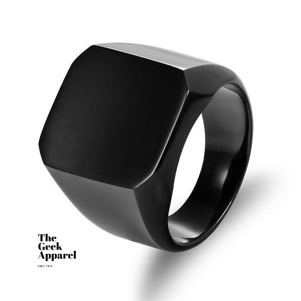 Minimalist Black Square Ring - The Geek Apparel