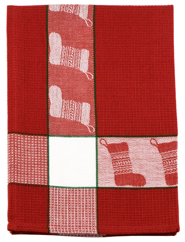 Christmas Stocking Ruby Waffle Dishtowel