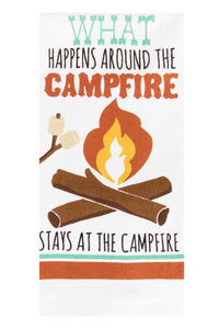 What happens around the campfire Kitchen Towel