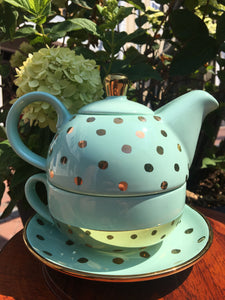 Teal Tea Pot and Cup with Gold Polka Dots