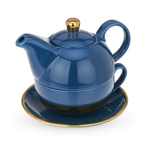ADDISON™ Dark Blue and Gold Tea For One Set BY PINKY UP®