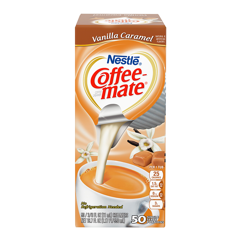 Coffee-Mate - Vanilla Caramel - Liquid Creamer Singles - 50-Piece x 3/8fl.oz (11ml) - New