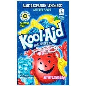 Kool Aid Blue Raspberry Lemonade Unsweetened Drink Mix Sachet - 6.2g