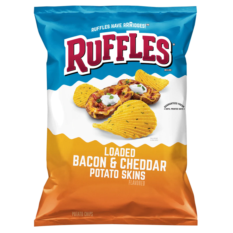 Ruffles Loaded Bacon Cheddar Potato Chips 6.5oz (184g) - New