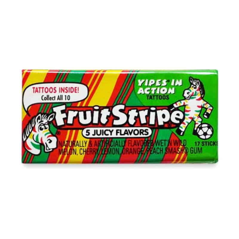 Fruit Stripe Bubble Gum 17pc 1.8oz (52g) - New