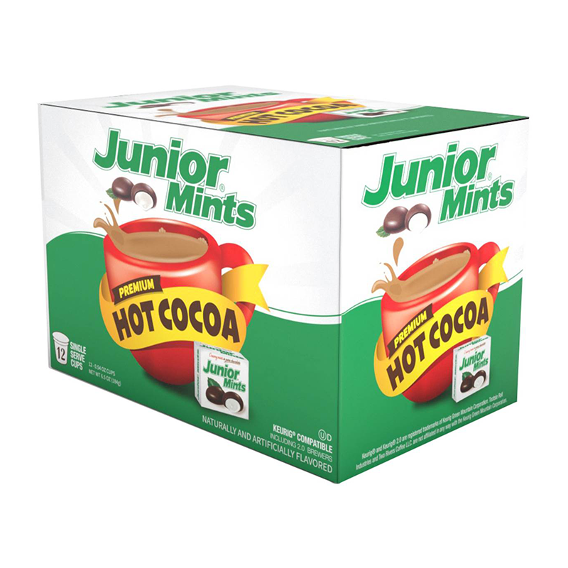 Junior Mints Flavoured Hot Cocoa - Keurig K-Cup Compatible - 12-Pack - New