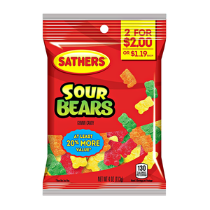 Sathers Sour Gummi Bears 3oz (85g) Peg Bag - New