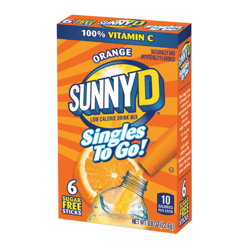 Sunny D Singles to go! Orange Drink Mix 6-Pack 0.8oz (22.6g) - New