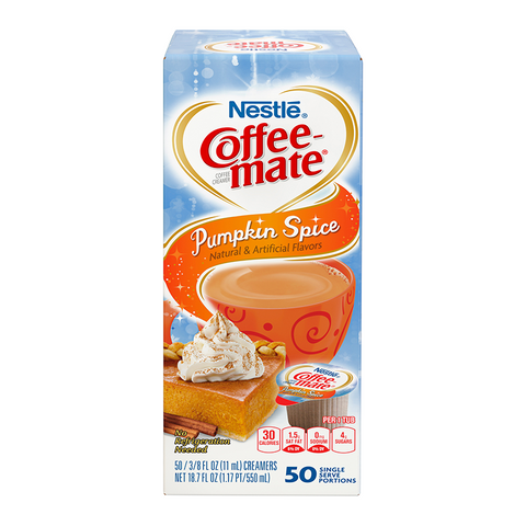 Coffee-Mate - Pumpkin Spice - Liquid Creamer Singles - 50-Piece x 3/8fl.oz (11ml) - New