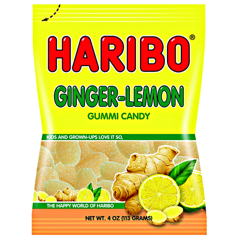 Haribo Ginger-Lemon Peg Bag 4oz (113g) - New