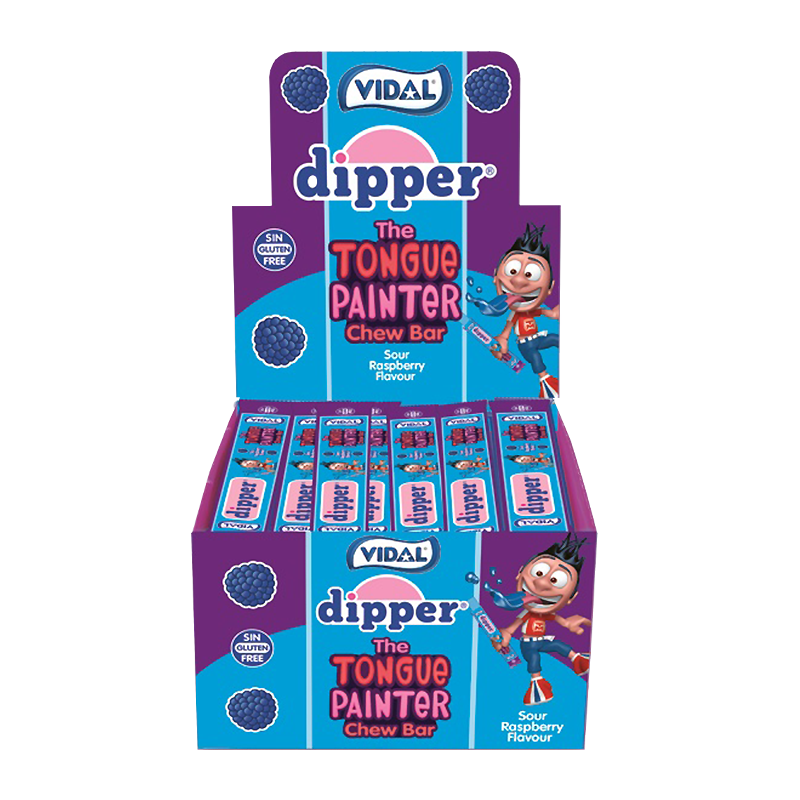 Vidal Dipper Tongue Painter Sour Raspberry Chew Bar - SINGLE