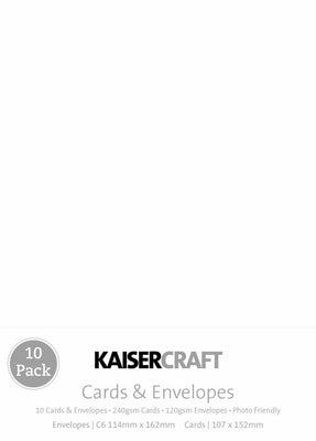 Kaisercraft - Cards & Envelopes - C6 White