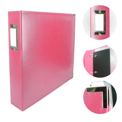 Couture Creations 12x12 Classic Superior Leather Album - Strawberry Pink