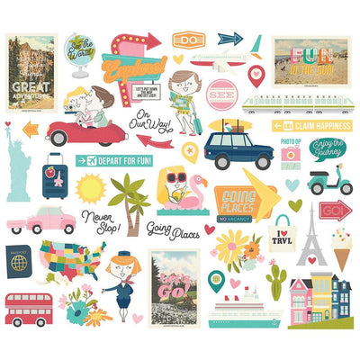 Simple Stories - Going Places Bits & Pieces Die Cut Pieces