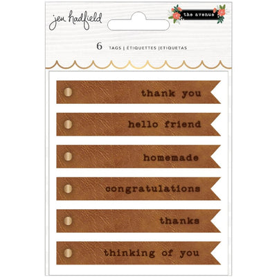Pebbles - Jen Hadfield, The Avenue - Embossed Faux Leather Tags 6/Pkg